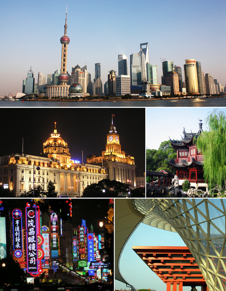 A view of the Pudong skyline; Yu Garden, China Pavilion along with the Expo Axis, neon signs on Nanjing Road, and The Bund