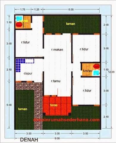gambar denah rumah luas tanah 120 meter 1