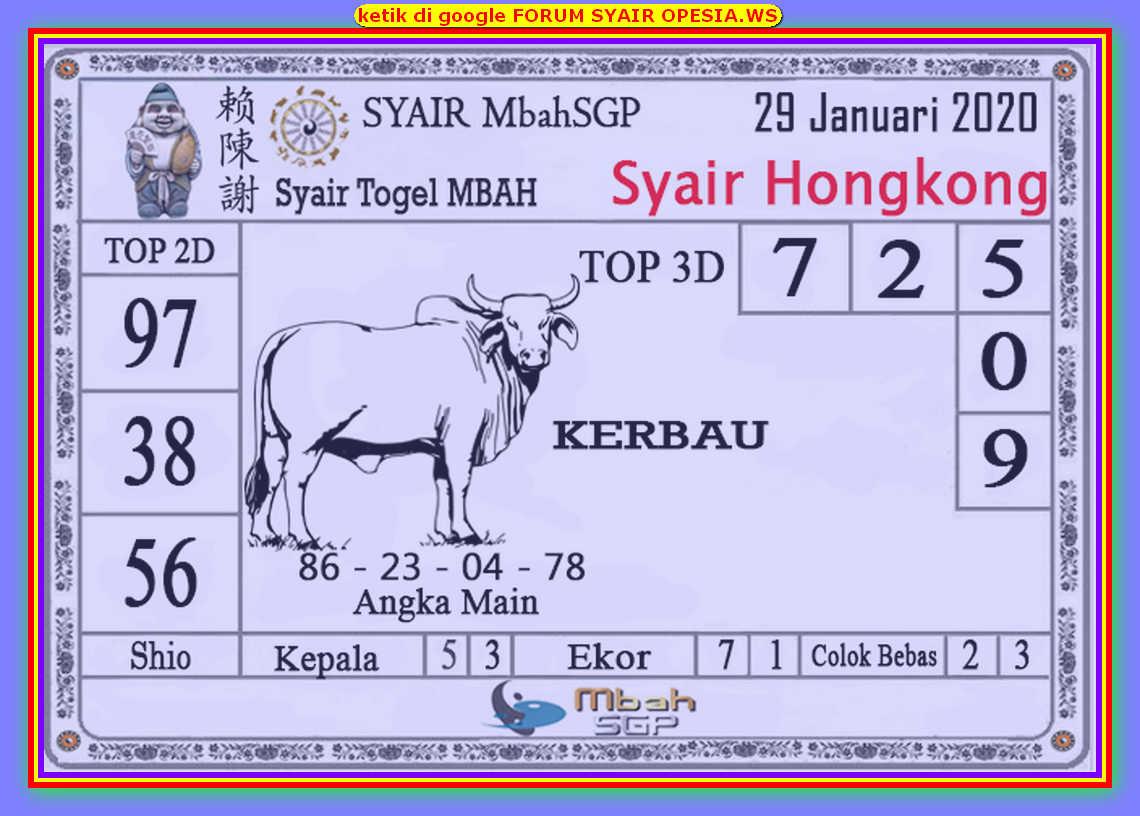 Kode syair Hongkong Rabu 29 Januari 2020 151