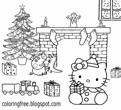 Basic young girls cartoon Christmas Peppa pig and Hello kitty coloring sheet pretty Xmas decorations