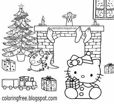 Basic young girls cartoon Christmas Peppa pig and Hello kitty coloring sheet pretty Xmas decorations