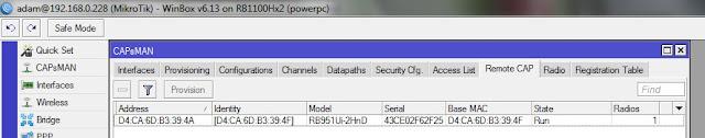 perangkat router wireless CAP yang sudah terhubung dengan CAPsMAN