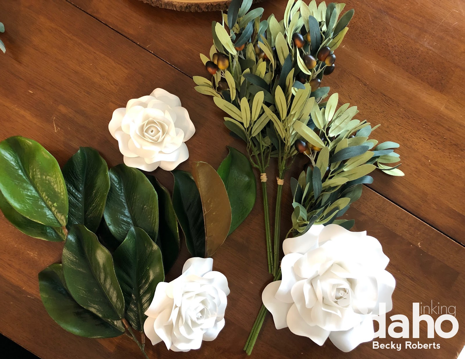 Inking Idaho Paper Flower Farmhouse Eucalyptus Wreath