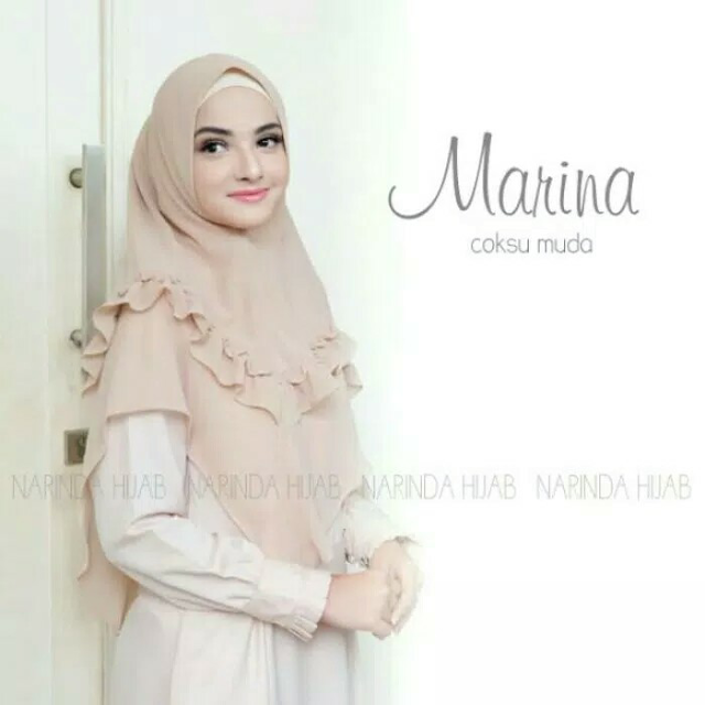 Jilbab INSTAN MARINA Panjang 2 Layer Syari Bahan Bubble Pop