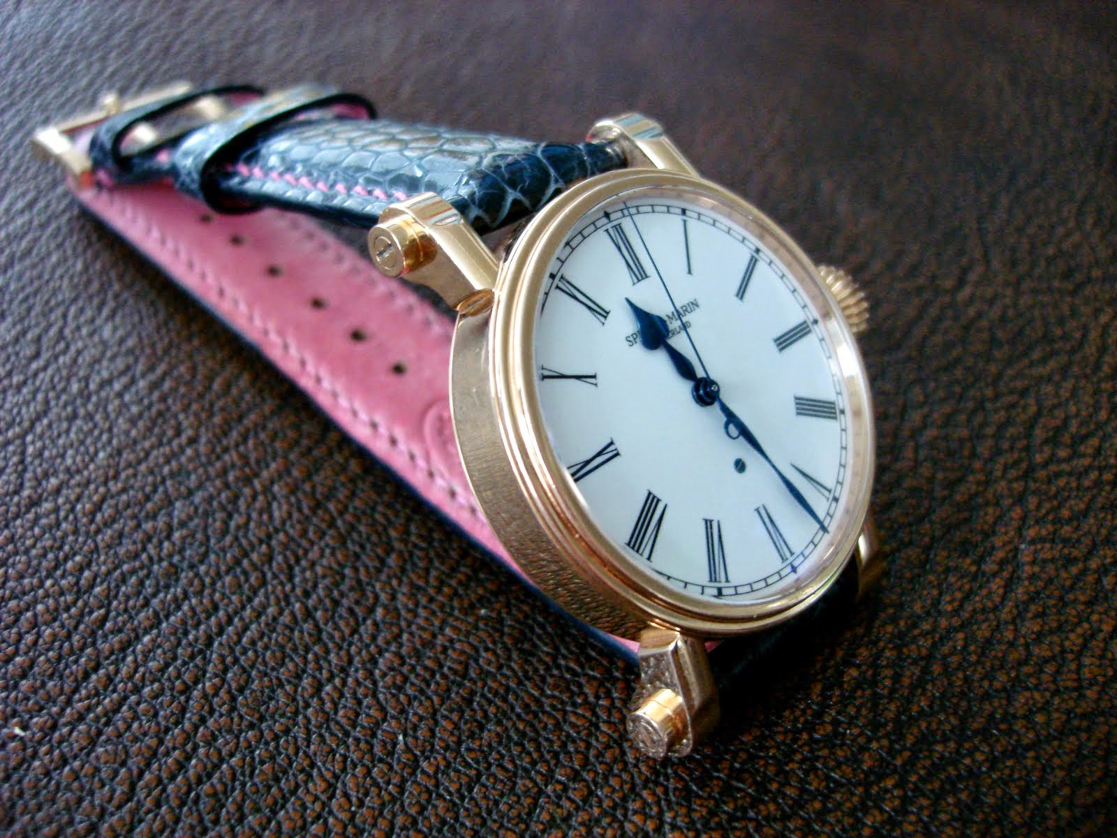Frau Bauer's Beautiful Speak-Marin on Navy Ostrich Leg with Pink Accents