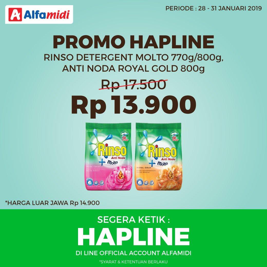 #Alfamidi - #Promo HAPLINE Rinso Detergent Molto / Anti Noda Hanya Rp.13.900 (s.d 31 Jan 2019)