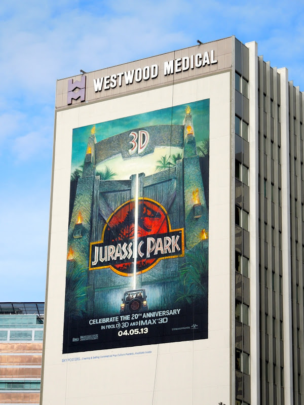 Giant Jurassic Park 3D movie billboard