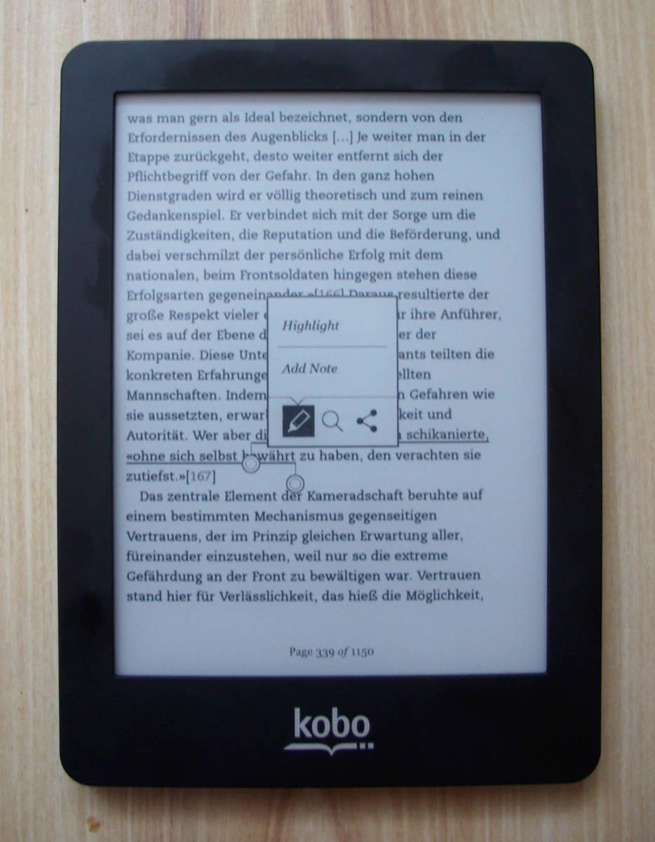 Kobo Glo - adnotacje i zaznaczanie tekstu