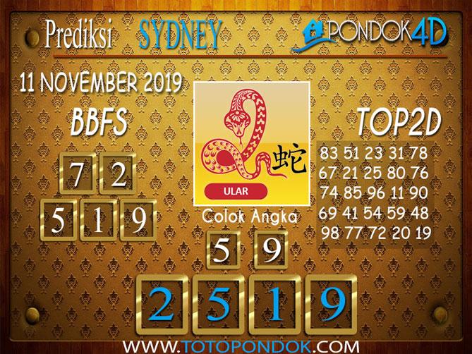 Prediksi Togel SYDNEY PONDOK4D 11 NOVEMBER 2019