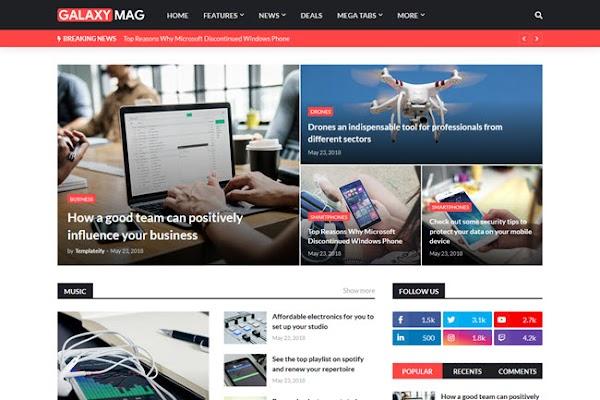 GalaxyMag Responsive News & Magazine Blogger Template