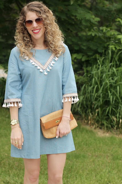 blue tassel dress, wedge sandals, straw clutch, aviators, summer dress outfit