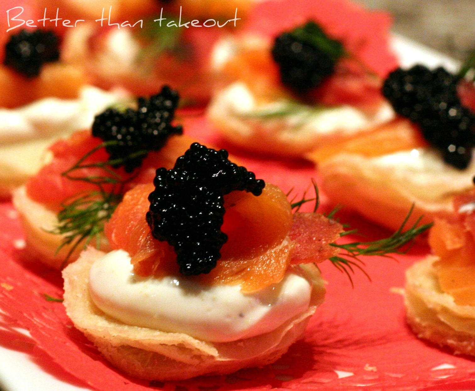 Better than takeout: Smoked Salmon Blini with Caviar  Dill
