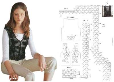 Chaleco crochet calado motivos florales