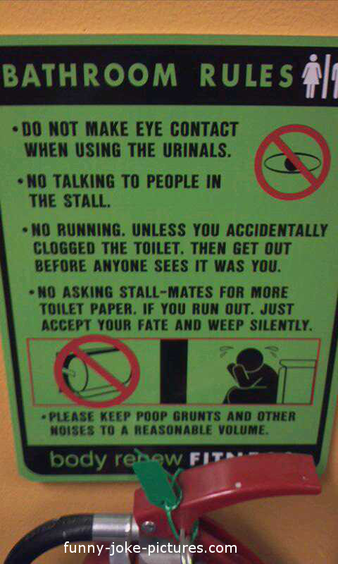 Bathroom Rules Sign Funny Joke Pictures