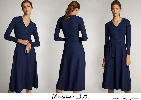 Queen Letizia wore a new v-neck dress by Massimo Dutti