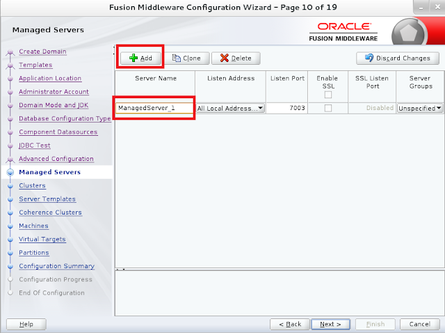 Weblogic domain creation step 11