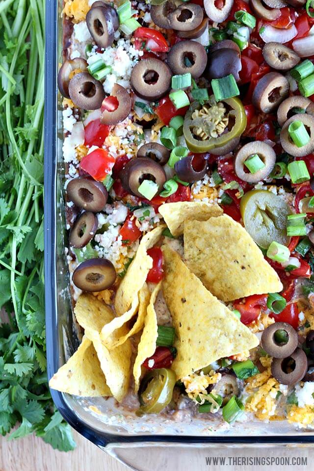 Easy & Healthy Appetizer Recipe: 7 Layer Bean Dip