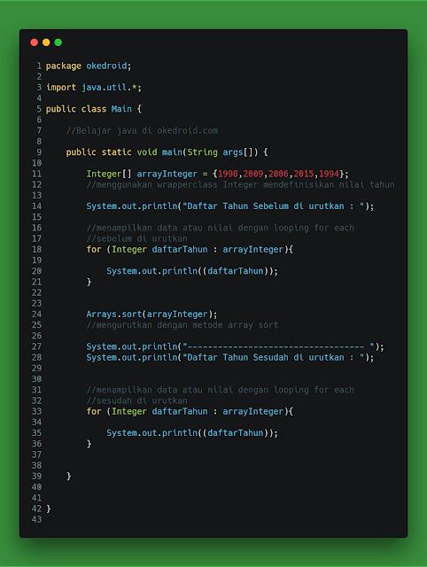 Contoh Code Metode Ascending Angka Integer Java