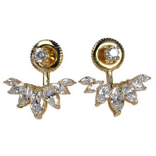 ROUND STUD AND MARQUISE EARRING JACKET