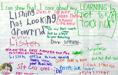 Anchor chart that shows student brainstorming about how they can show they care about their learning.