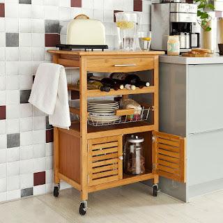 Mesa auxiliar para cocina con botellero