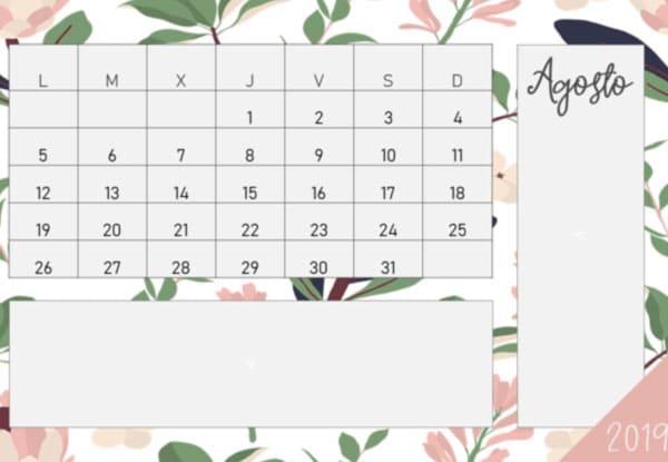 Calendario 2019 en PDF gratis para que imprimas