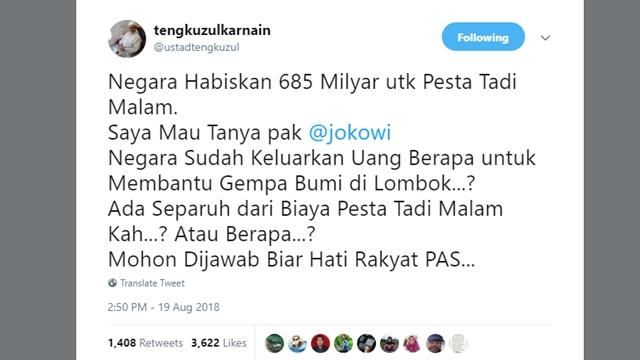 Pertanyaan Tajam Ustaz Tengku untuk Jokowi Soal Gempa