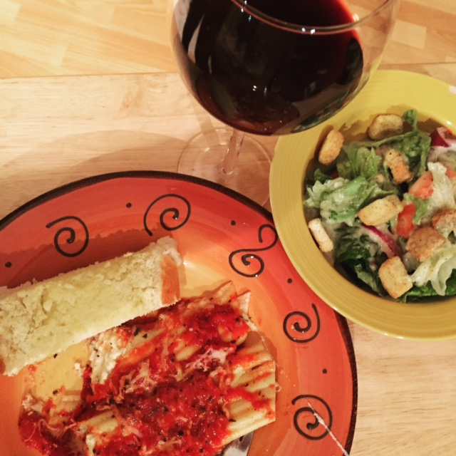 Manicotti dinner, my husband's favorite. The perfect Valentine's dinner.