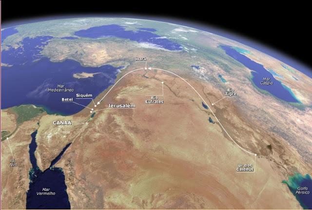 Imagem do globo mostrando os rios Tigre e Eufrates
