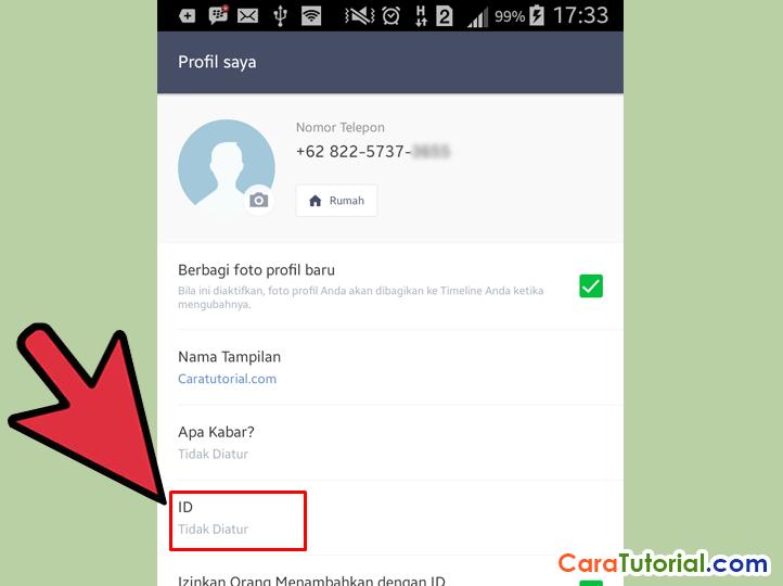 User ID LINE Messenger Tidak Diatur