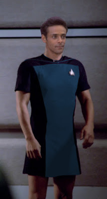 Dr. Bashir wearing TNG skant uniform