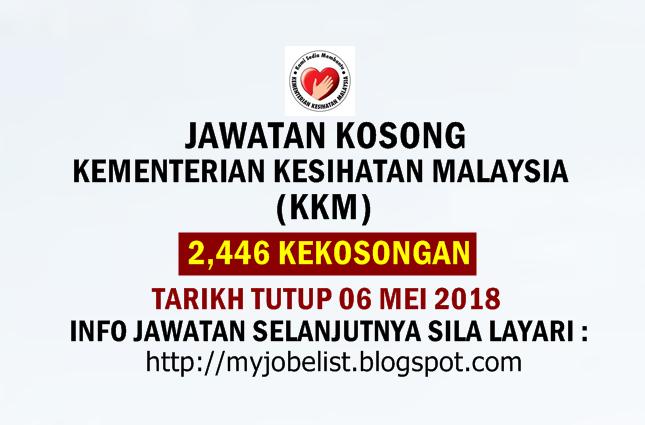 Jawatan Kosong di Kementerian Kesihatan Malaysia (KKM) Mei 2018