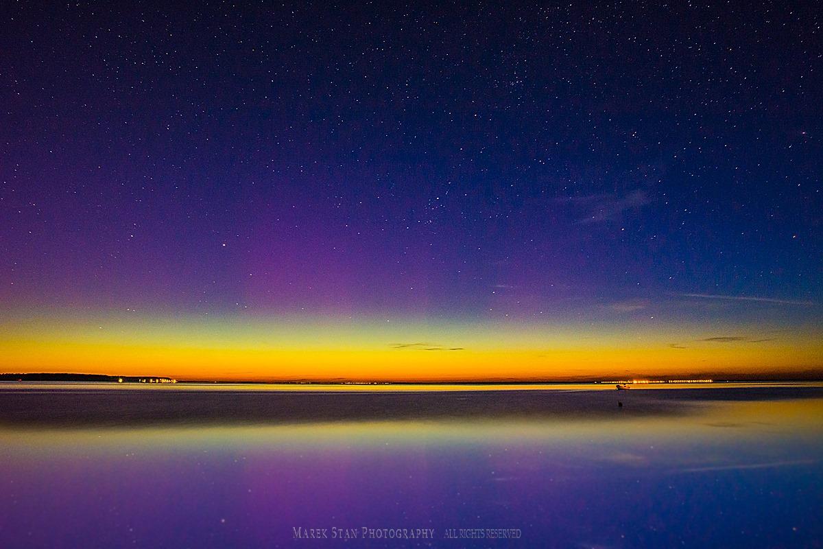 Zorza polarna sfotografowana w noc z 27 na 28 maja 2017 r. Rewa, pomorskie. Autor: Marek Stan
