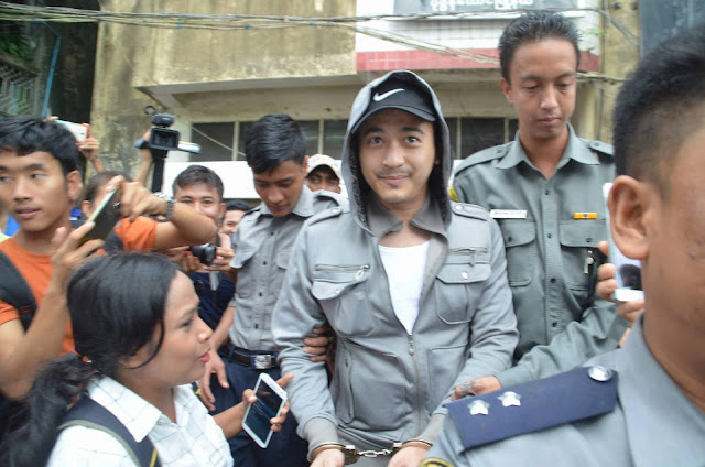 Moe Aung Yin Walks Into The Crowd To Face His Charge In Pazuntaung Police Station