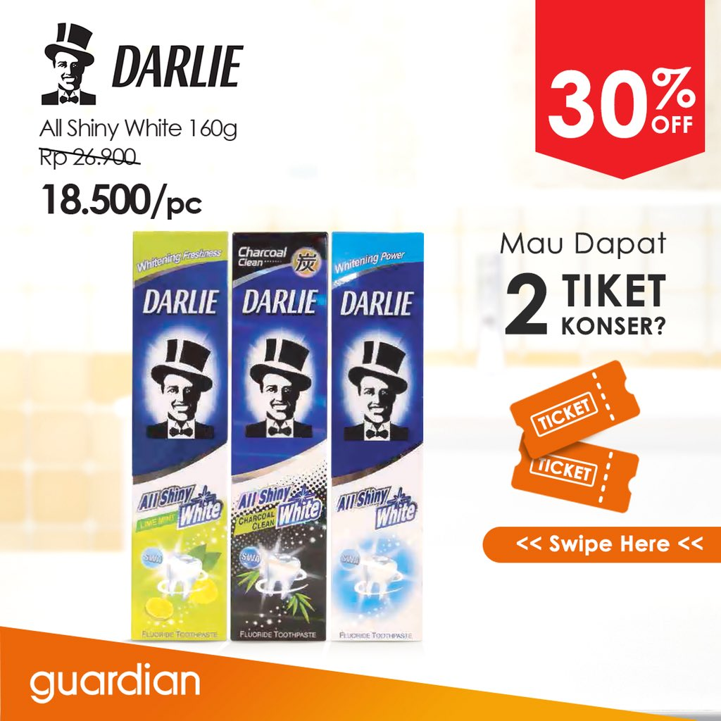 Guardian - Promo Diskon 30% Darlie Tooth Paste + Voucher Tiket Konser