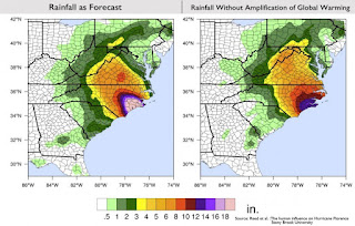 Projected rainfall totals for Hurricane Florence vs. what the storm would have dropped without global warming. (Credit: Reed et al. 2018) Click to Enlarge.