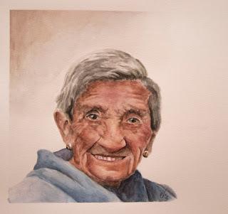 Retrato en acuarela de anciana
