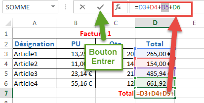 Modifier une formule