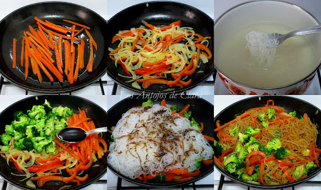 Preparación salteado de verduras con fideos