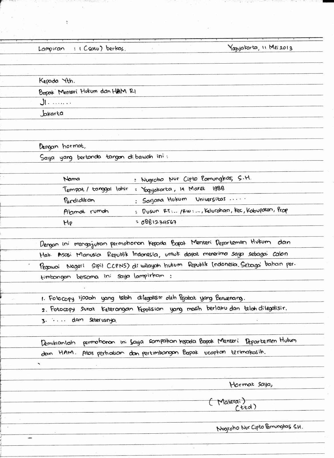 Menulis Dengan Tangan Surat Lamaran Kerja CPNS