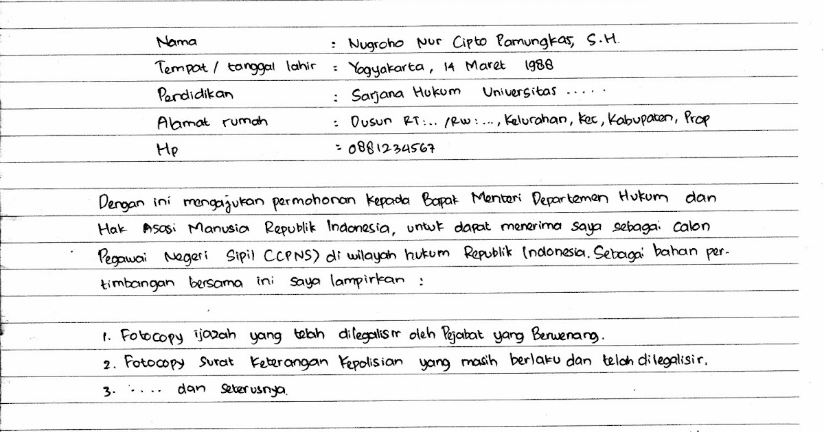 Contoh Surat Lamaran Kerja Cpns Dan Umum Ditulis Tangan