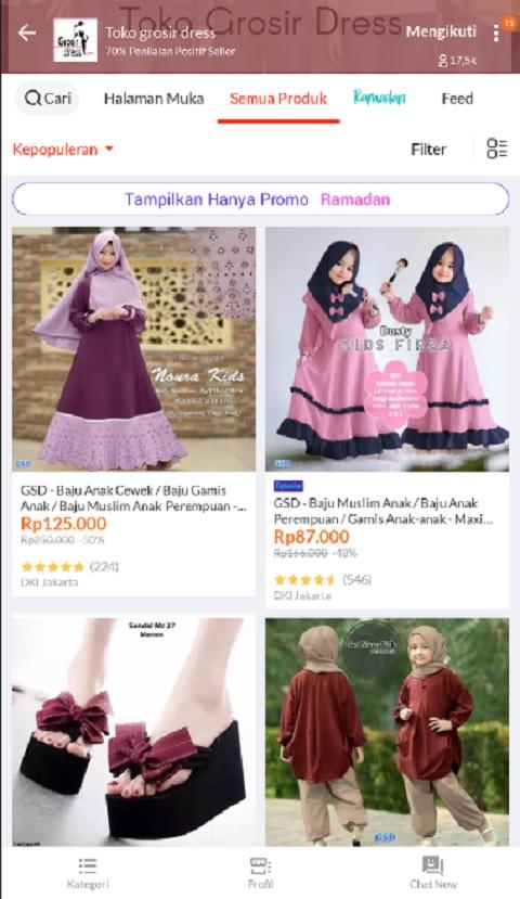 Toko Grosir Dress Baju Muslim Anak Terlaris di Lazada
