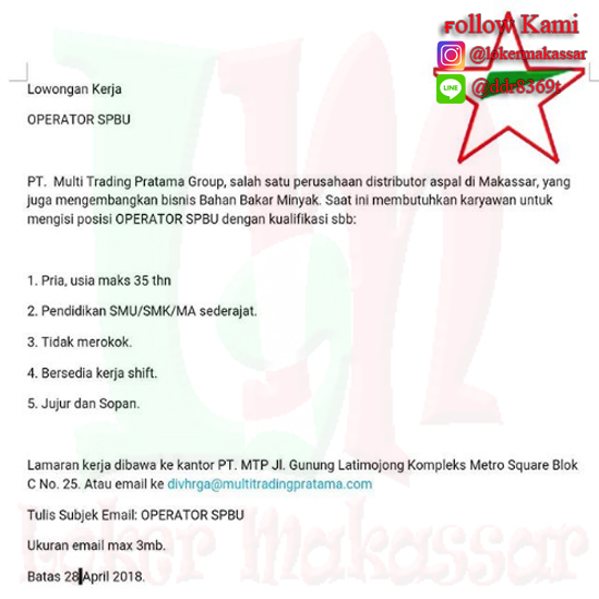 Lowongan Kerja Makassar Di Pt Multi Trading Pratama Group