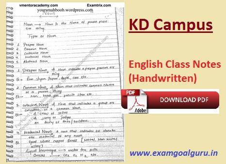 KD Campus English Grammar Class Notes PDF - Examgoalguru