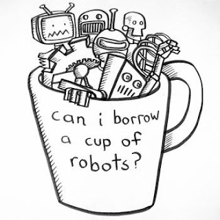 Disegno di alcuni robot in una tazza