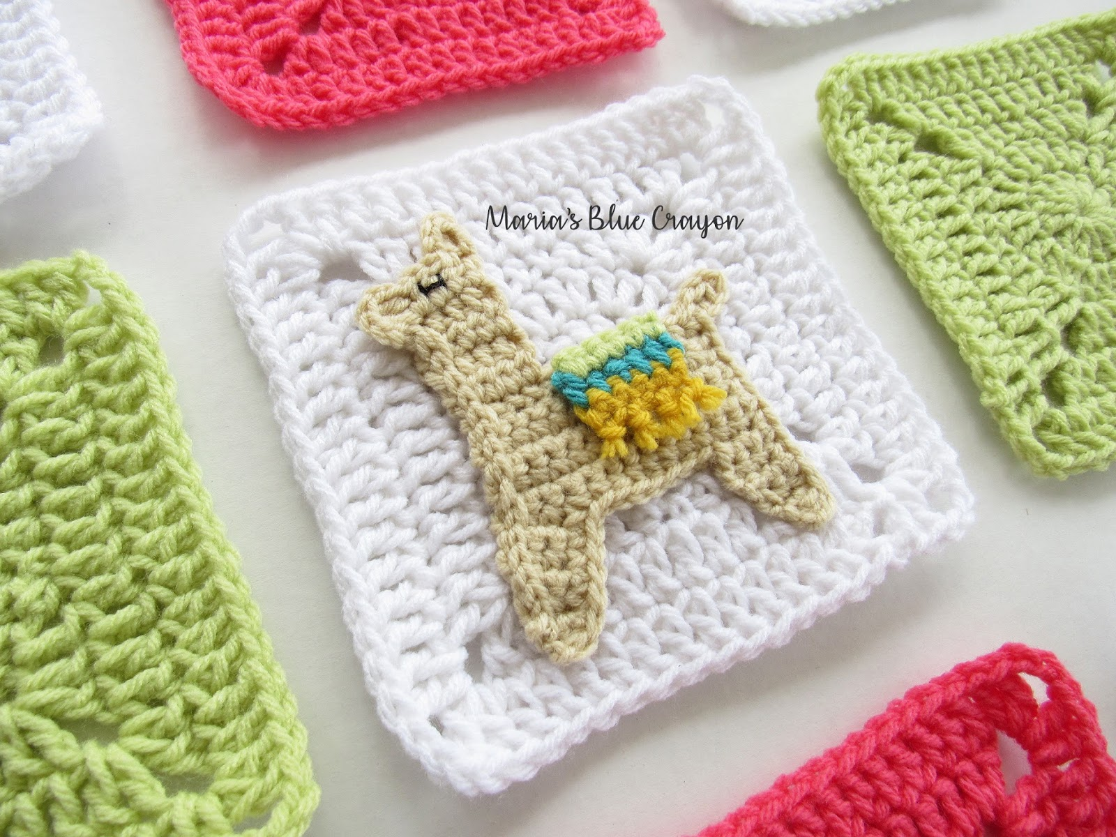 Crochet Llama Applique and Granny Square - Free Crochet pattern ...