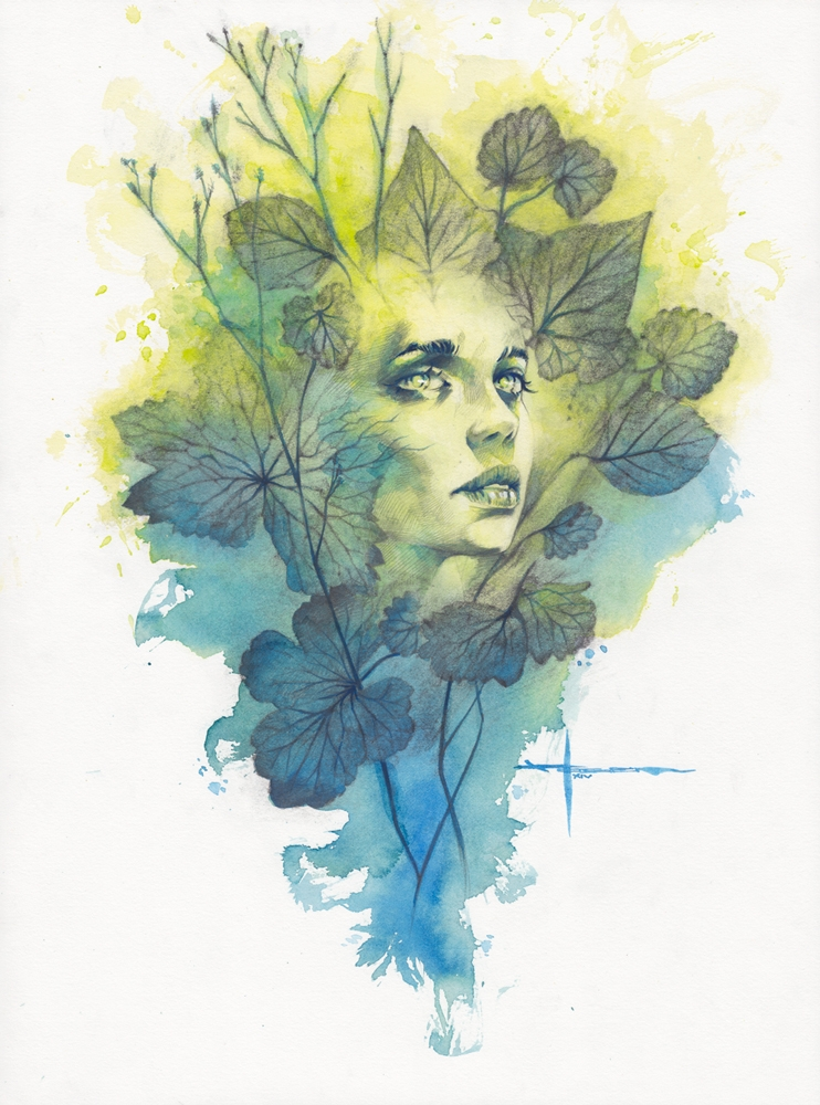05-I-am-the-Past-and-Future-Max-Moser-Paintings-of-Multicolored-Watercolor-Portraits-www-designstack-co