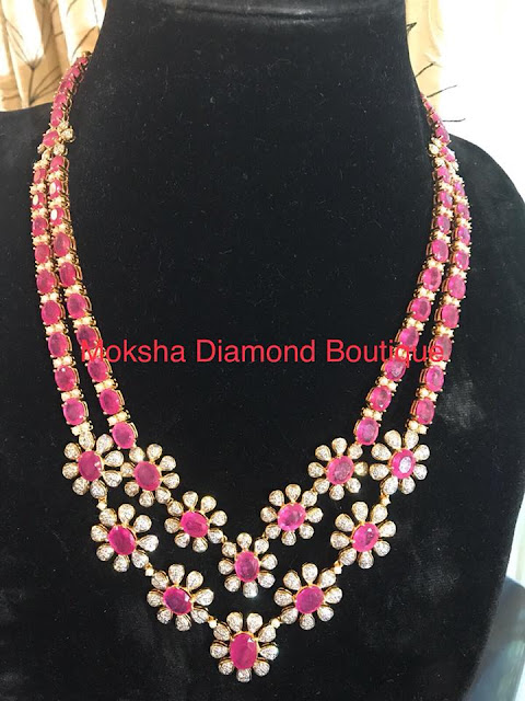 Two Layer Ruby Set with Diamond Flowers