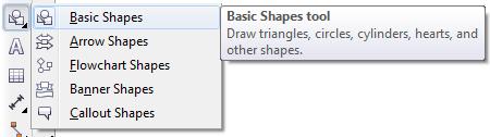 Mengenal bagian CorelDRAW - Basic Shape Tool