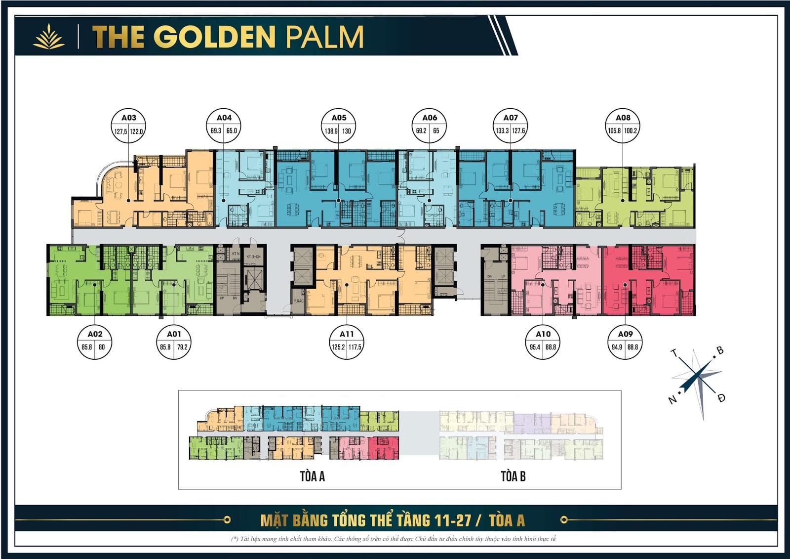 Mặt bằng điển hình tầng 11 đến 27 tòa A - The Golden Palm